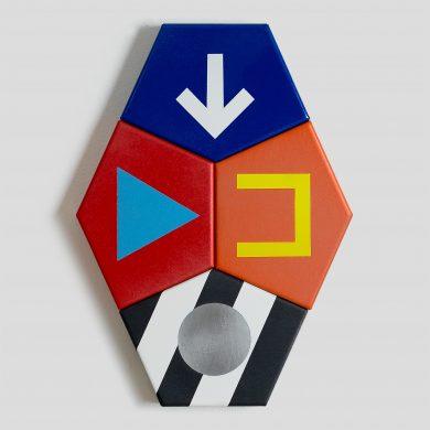 CAIRO colourful tessellating metal pentagon artwork