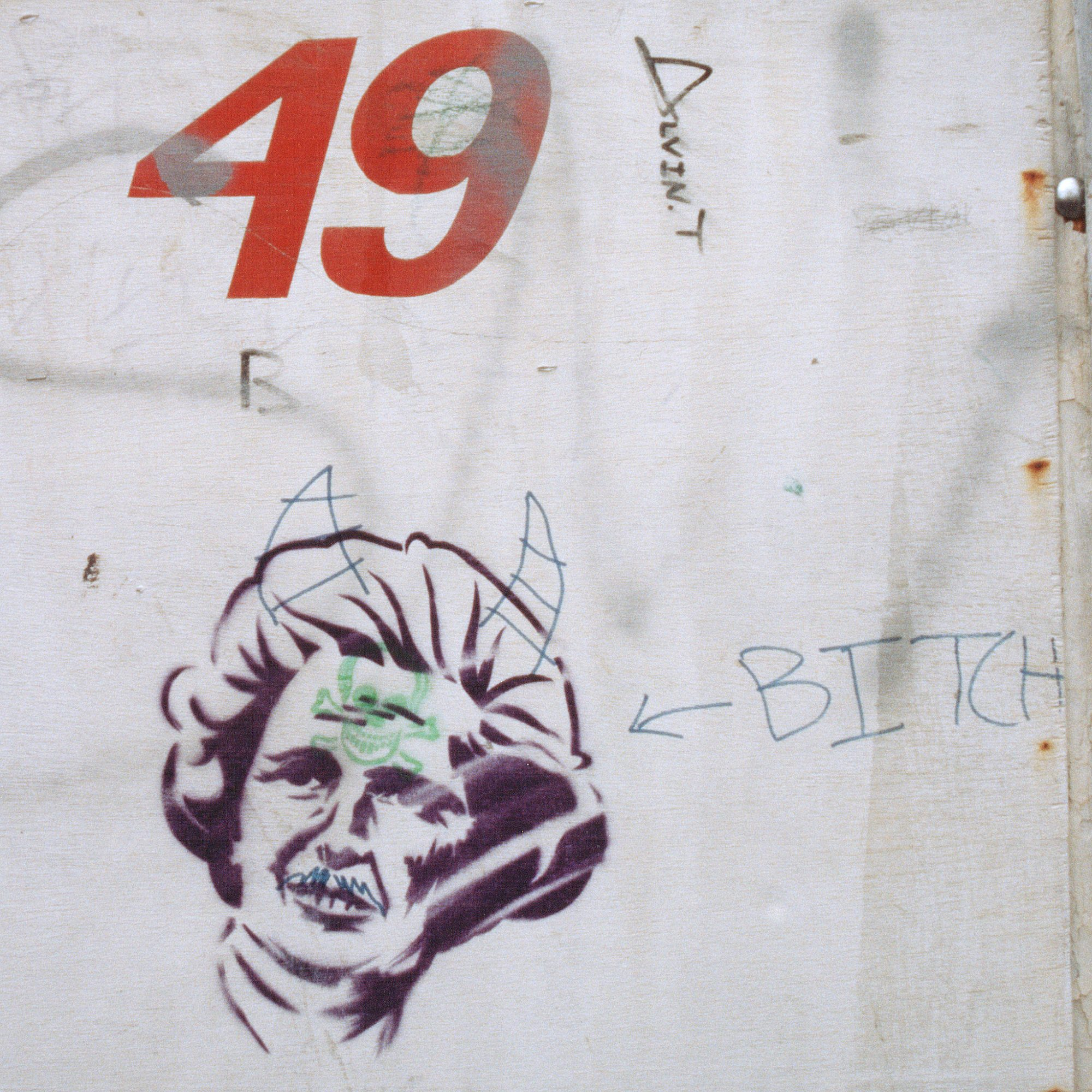 Margaret Thatcher stencilled street art captured in London