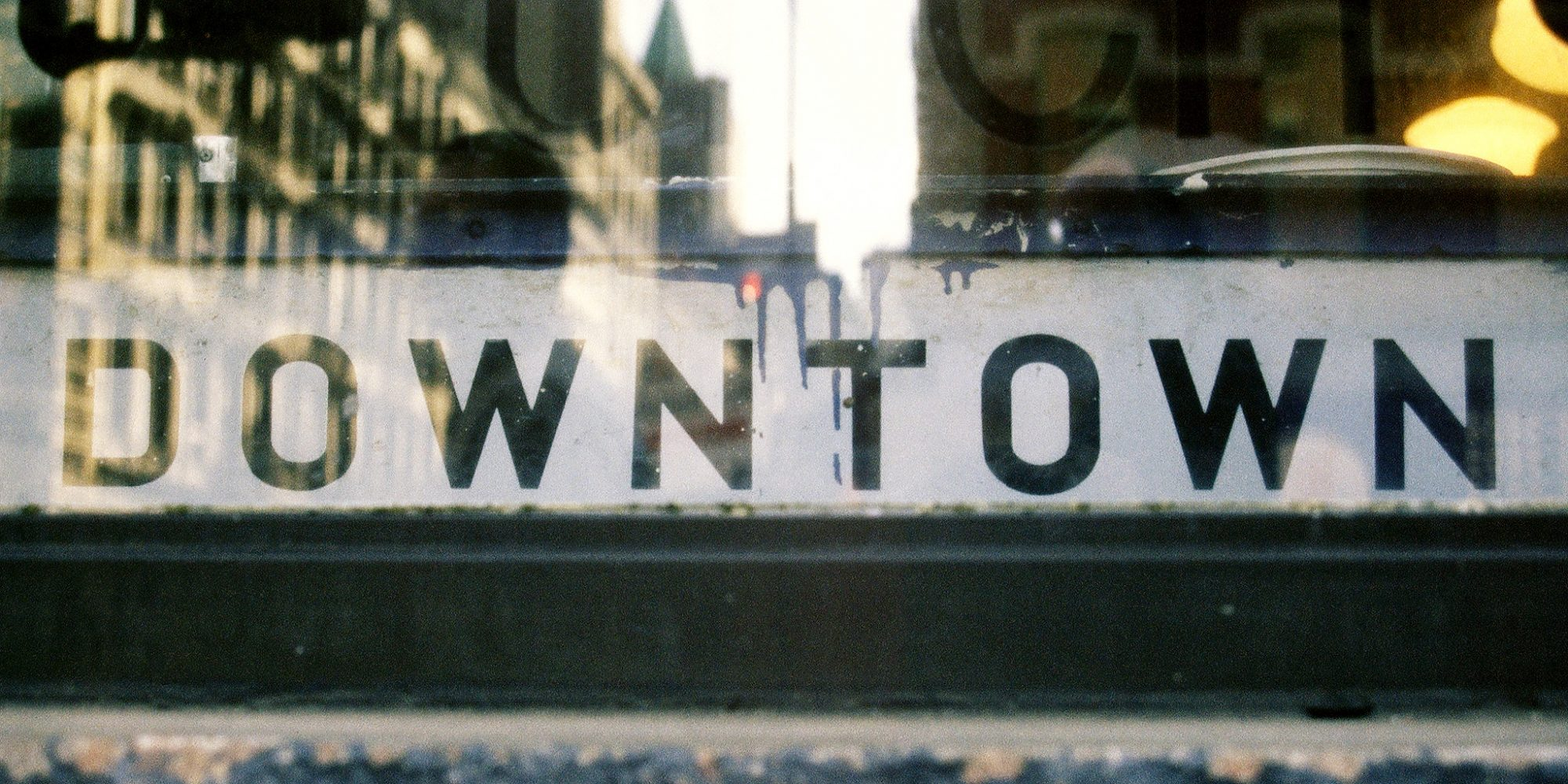 Downtown captured vernacular typographic sign in New York City