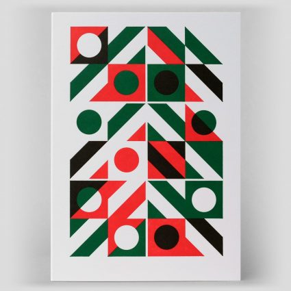 Abstract geometric letterpress art card handprinted in two colours