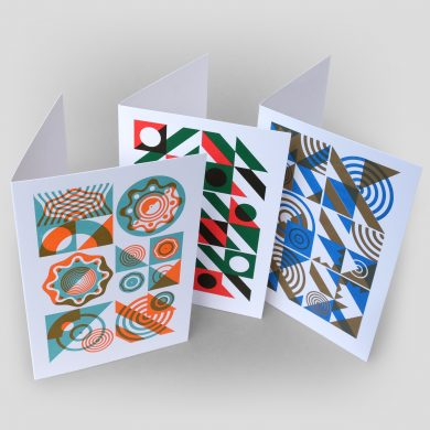 Geometric art cards letterpress printed by hand in two colours