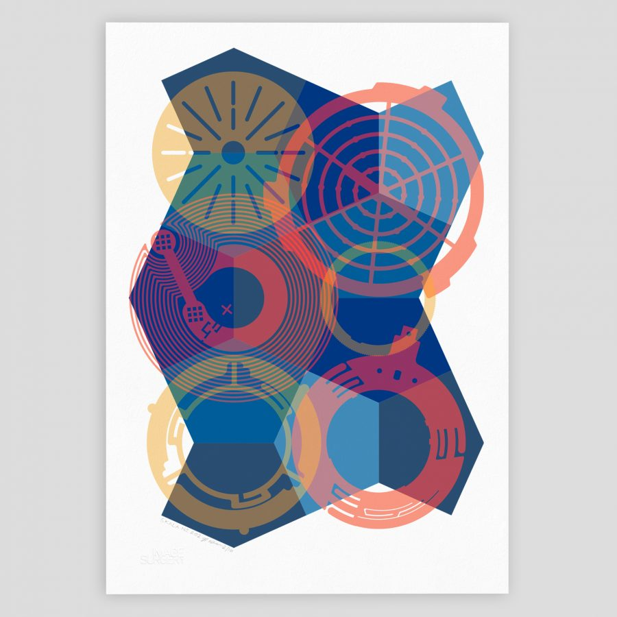 Dynamic abstract geometric graphic art print for contemporary interior