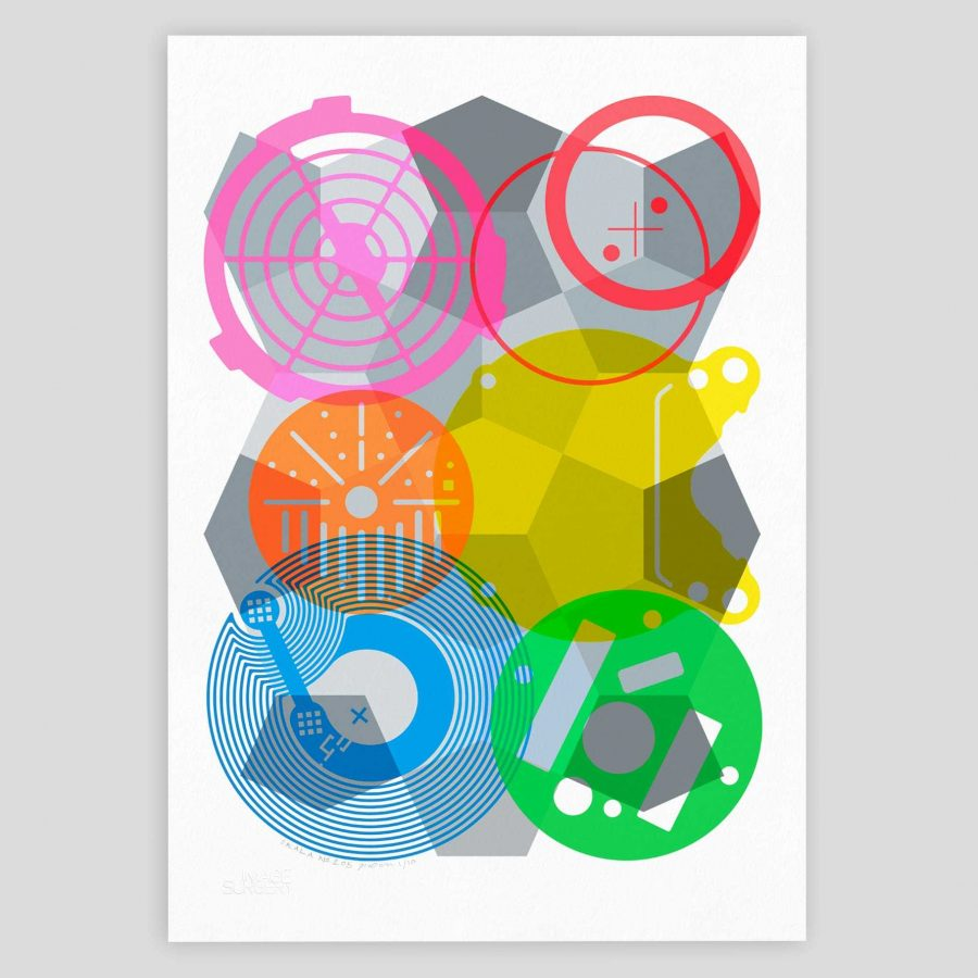 Abstract geometric art print created with an eclectic collection of post-industrial shapes in unique explosive colours