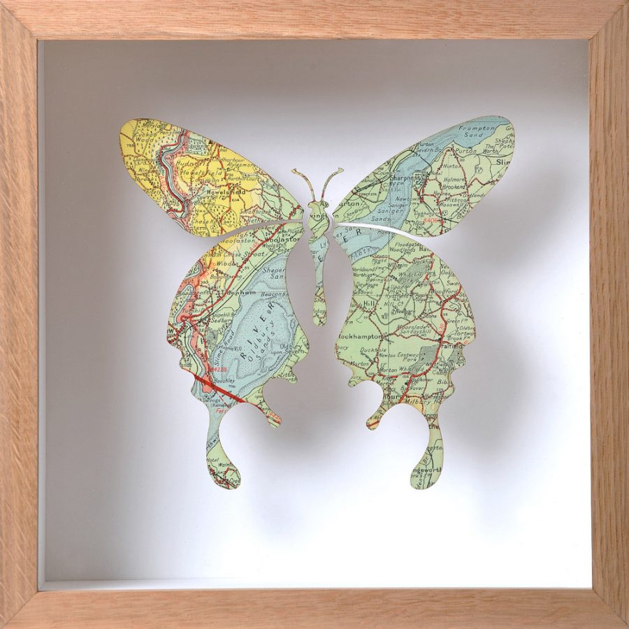 Box framed map butterfly artwork showing the River Severn estuary northeast of Chepstow