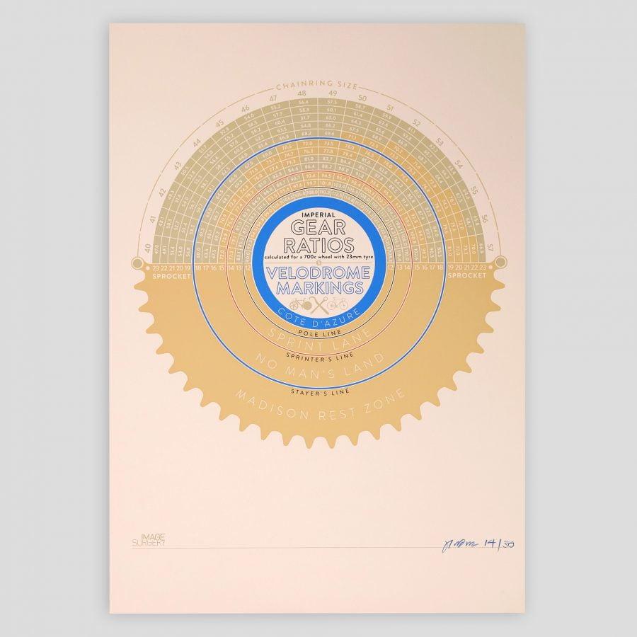 ARTCRANK LDN 2013 Velodrome Gear Ratio Chart Poster by Joseph Warren imagesurgery